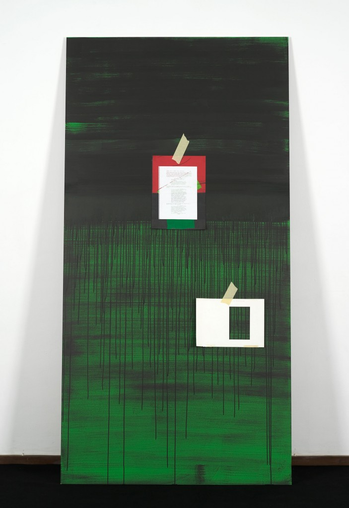 Ed Atkins, »A Very Short Introduction to Death Mask II«, 2010. 3 Parts (part 1/3). MDF, Chromakey Green Paint, Omnichrom Photocopies, Indian Ink, Masking Tape.