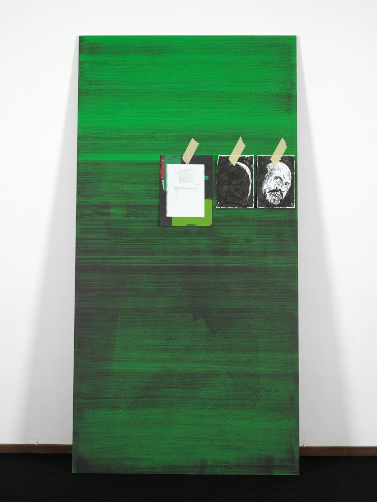 Ed Atkins, »A Very Short Introduction to Death Mask II«, 2010. 3 Parts (part 3/3). MDF, Chromakey Green Paint, Omnichrom Photocopies, Indian Ink, Masking Tape.