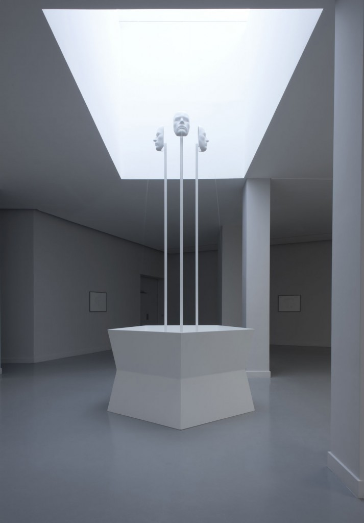 Jos de Gruyter & Harald Thys. »De Drie Wijsneuzen« 2013. variable fountain with three masks on metal poles as gargoyles. 184 x 390 x 111 cm. Unique