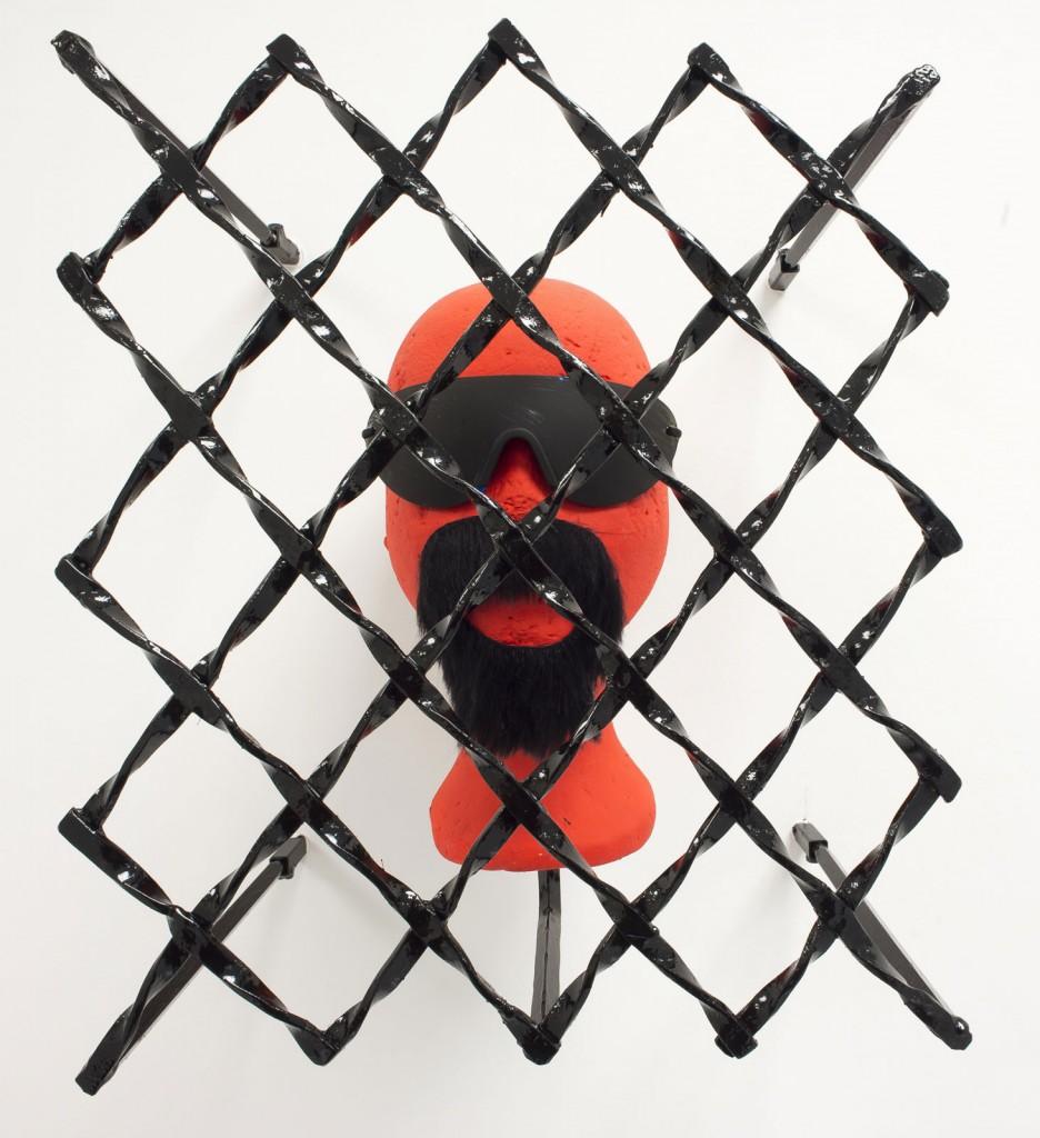Jos de Gruyter & Harald Thys. »Fritz« 2013. styrofoam head, metal grid painted black. dimensions variable. Unique