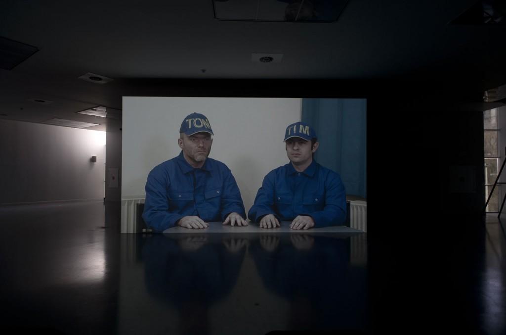 Jos de Gruyter & Harald Thys. »Ten Weyngaert«. 2008. video. duration: 26 minutes dimensions variable  Installation view: Jos de Gruyter & Harald Thys. OPTIMUNDUS, M HKA, Antwerpen, 08.02.2013–19.05.2013.