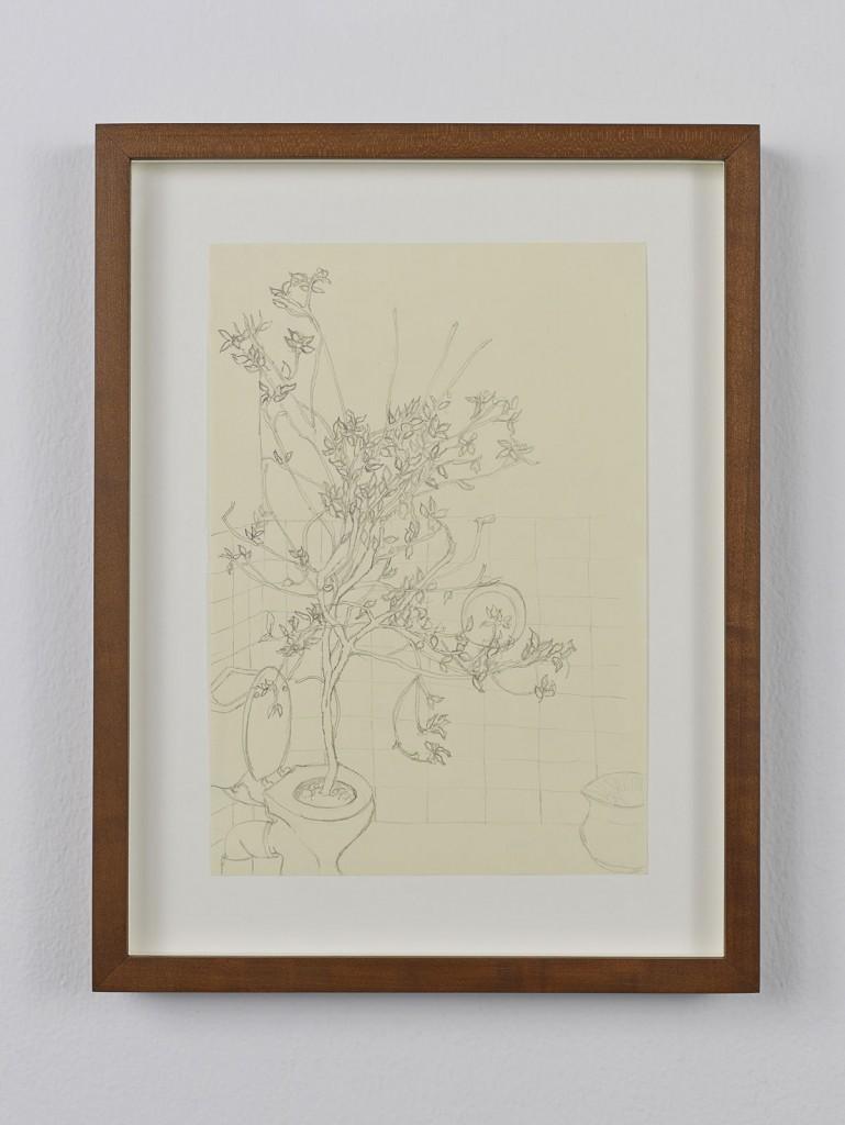 Juliette Blightman. »Barbara Gladstone, Brussels«. 2013. Graphite on paper, framed. Unique.