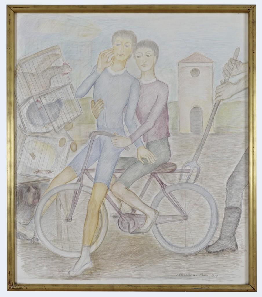 Pierre Klossowski. »Les Deux Garcons.« 1988. Coloured pencil on paper. 172 x 150 cm. Unique.