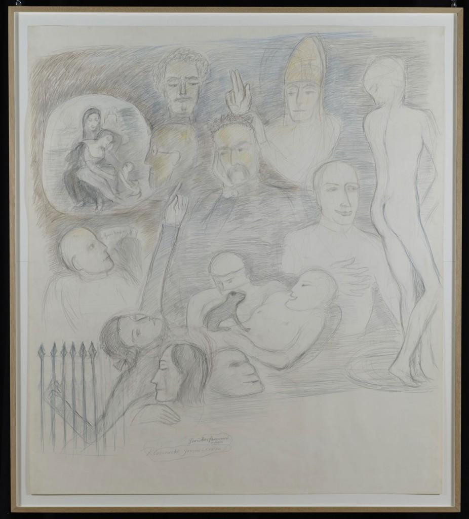 Pierre Klossowski. »Le grand renfermement, 2ème version.« 1988. Coloured pencil on paper. 169 x 150 cm. Unique.