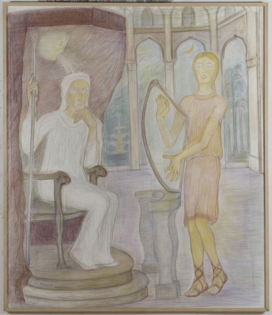 Pierre Klossowski. »Le jeune David jouant de la harpe devant le Roi Saul en proie à l'esprit malin.« 1988. Coloured pencil on paper. 175 x 150 cm. Unique.