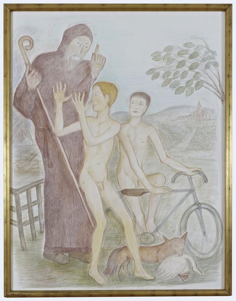 Pierre Klossowski. »Le pied de nez.« 1987. Coloured pencil on paper. 190 x 150 cm. Unique.