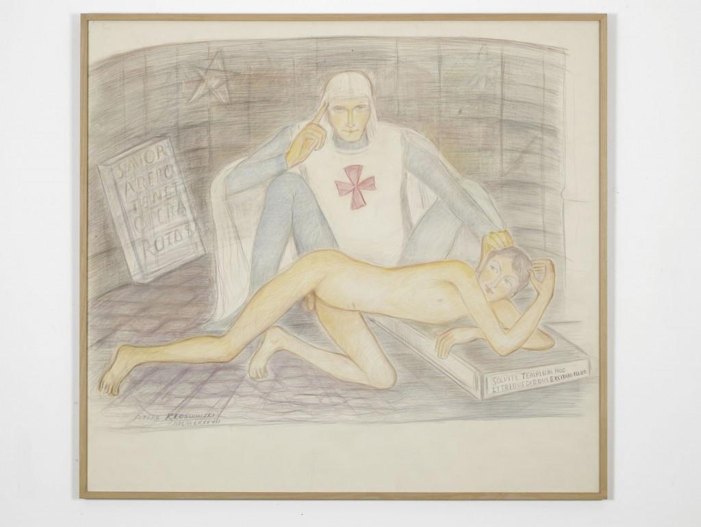 Pierre Klossowski. »Malvoisie initiant le jeune Ogier.« 1987. Coloured pencil on paper. 137.5 x 150 cm. Unique.