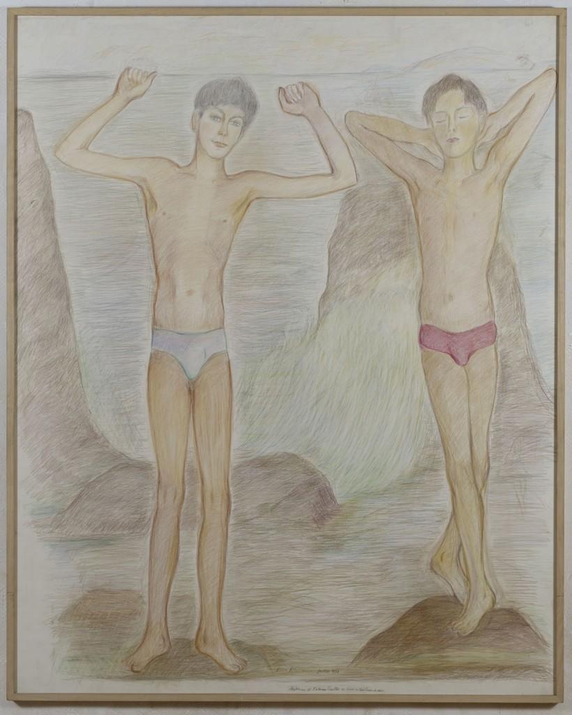 Pierre Klossowski. »Mathias et Fabrice Roullet.« 1988. Coloured pencil on paper. 180 x 145 cm. Unique.