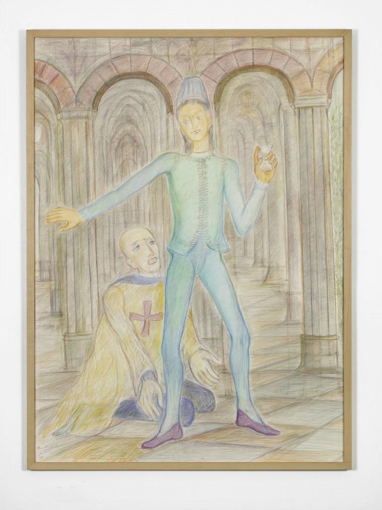 Pierre Klossowski. »Ogier feignant de s'en aller.« 1990. Coloured pencil on paper. 167 x 122 cm. Unique.