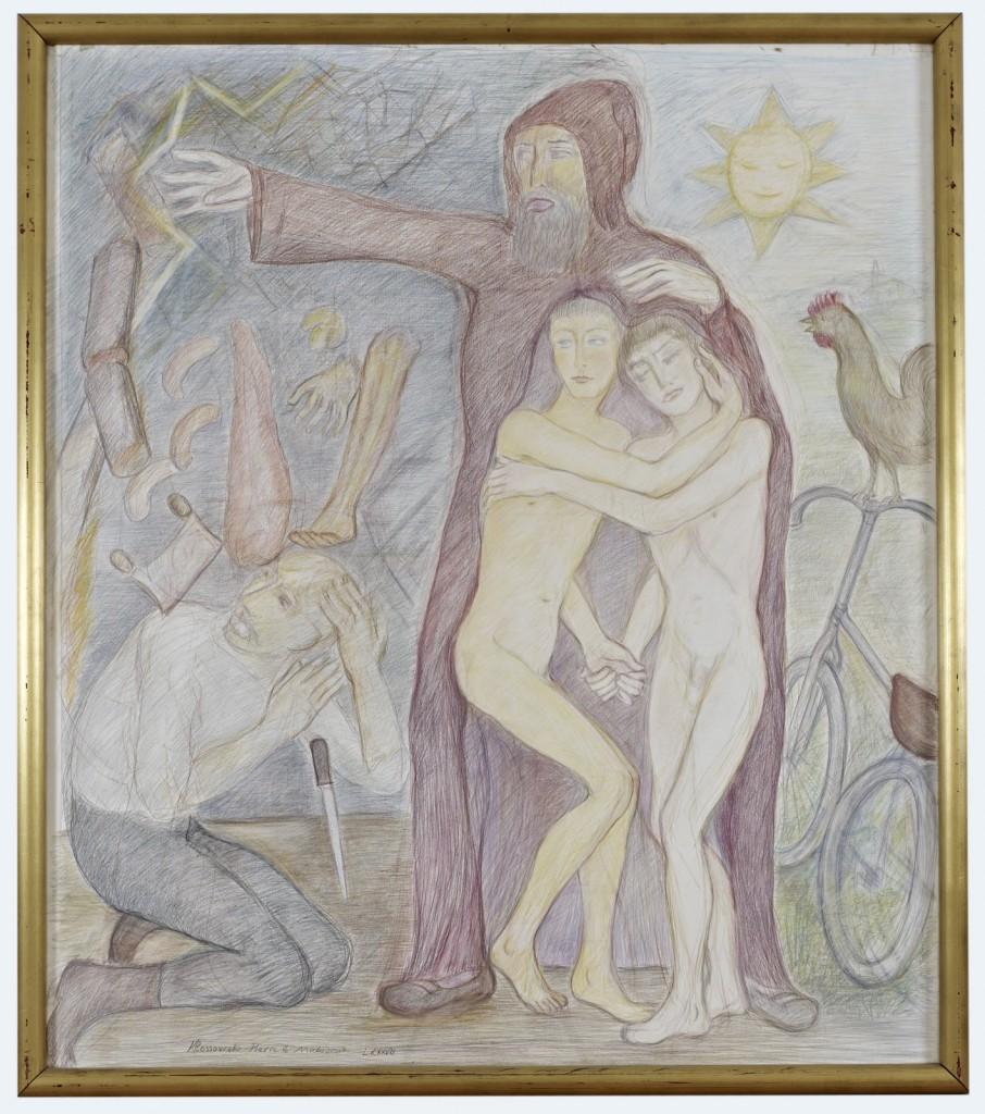 Pierre Klossowski. »Saint Nicholas.« 1987. Coloured pencil on paper. 170 x 150 cm. Unique.