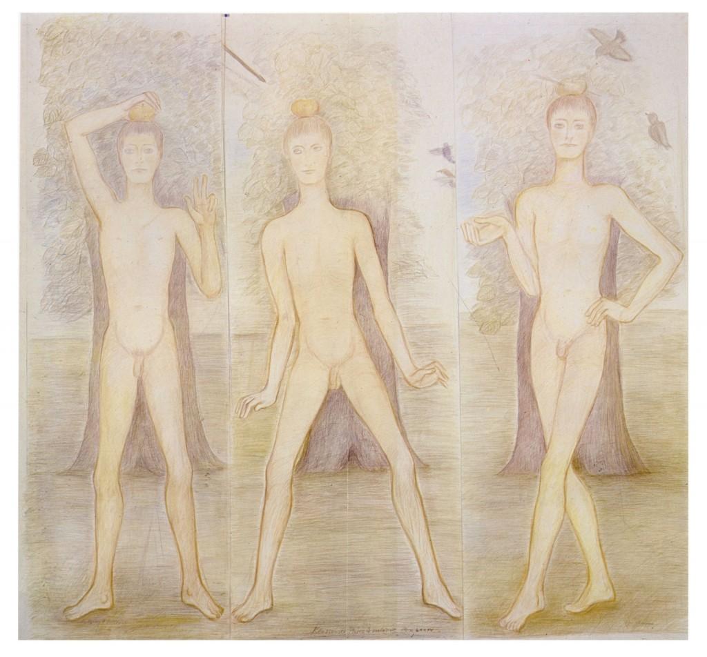 Pierre Klossowski. »Trois attitudes du fils de Guillaume Tell.« 1985. Coloured pencil on paper. 184 x 204 cm. Unique.