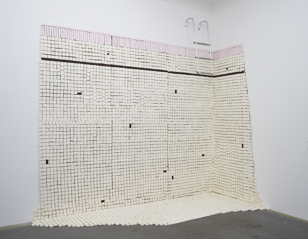 Aldo Mondino, »Untitled (marshmallow swimming pool)«, 1982, marshmallow, cardboard and glue, dimensions variable