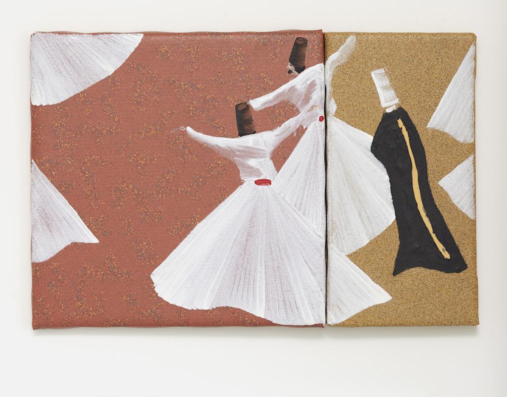 Aldo Mondino, »Maestro«, 2004, oil on linoleum, diptych: 40 x 40 cm, 40 x 20 cm, unique
