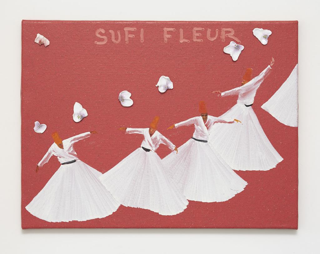 Aldo Mondino, »Sufi Fleur«, 2004, oil on linoleum and ceramic, 60 x 80 cm, unique