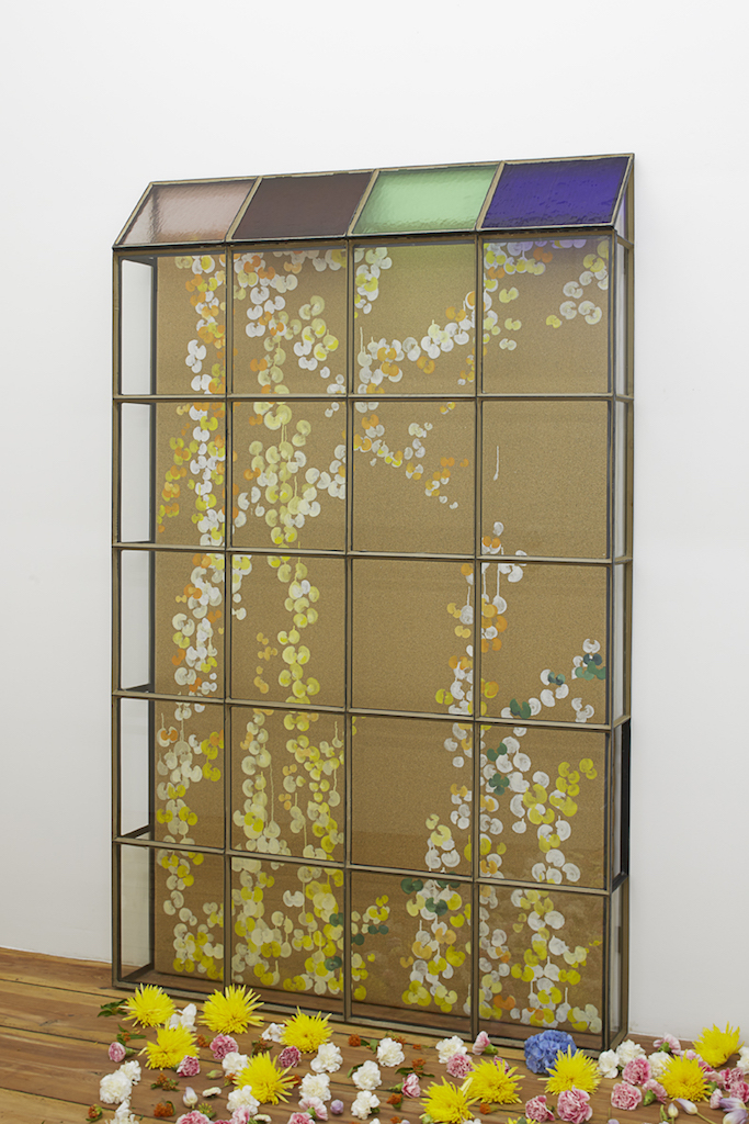 Aldo Mondino, »Serra«, 2004, oil on linoleum, glass and wrought iron, 198 x 130 x 165 cm, unique