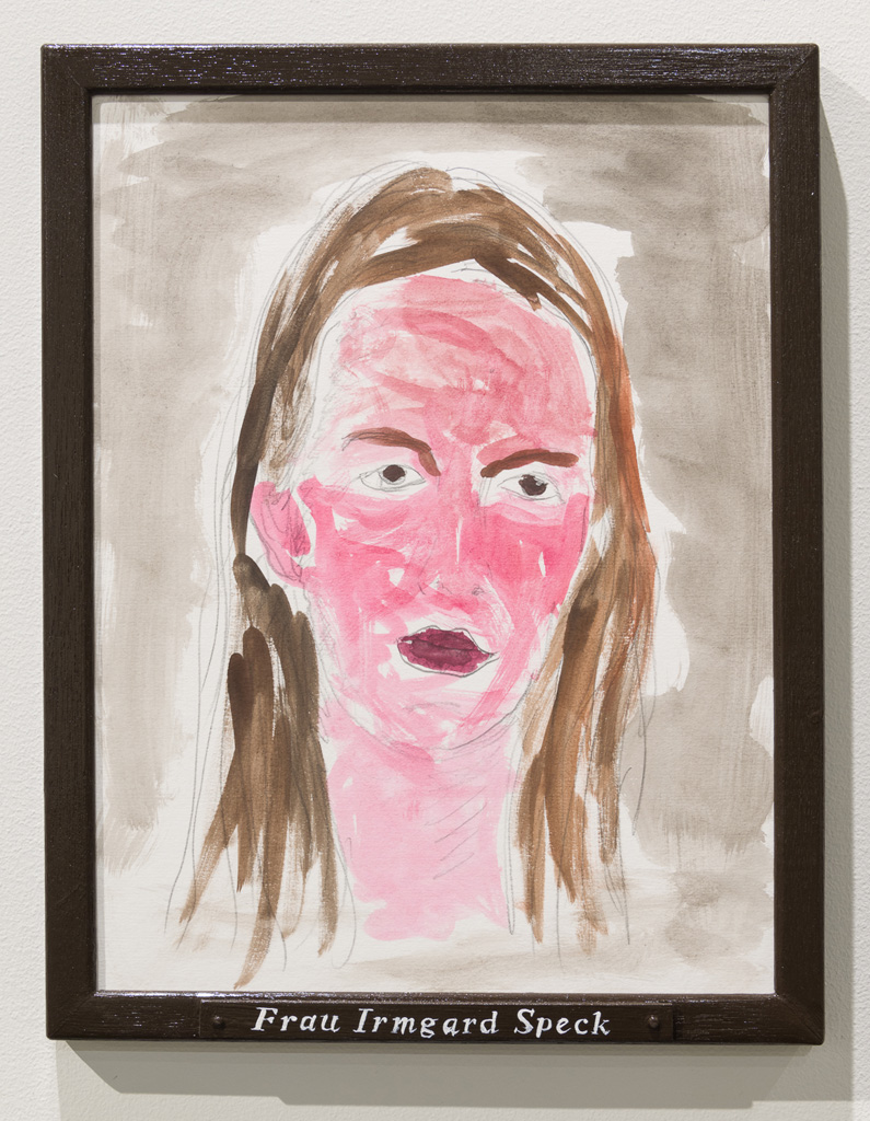 Jos de Gruyter & Harald Thys, »FRAU IRMGARD SPECK«, 2015,<br>Pencil and water colour on off-white cardboard in wooden frame,<br>painted brown, 38 x 30, Unique