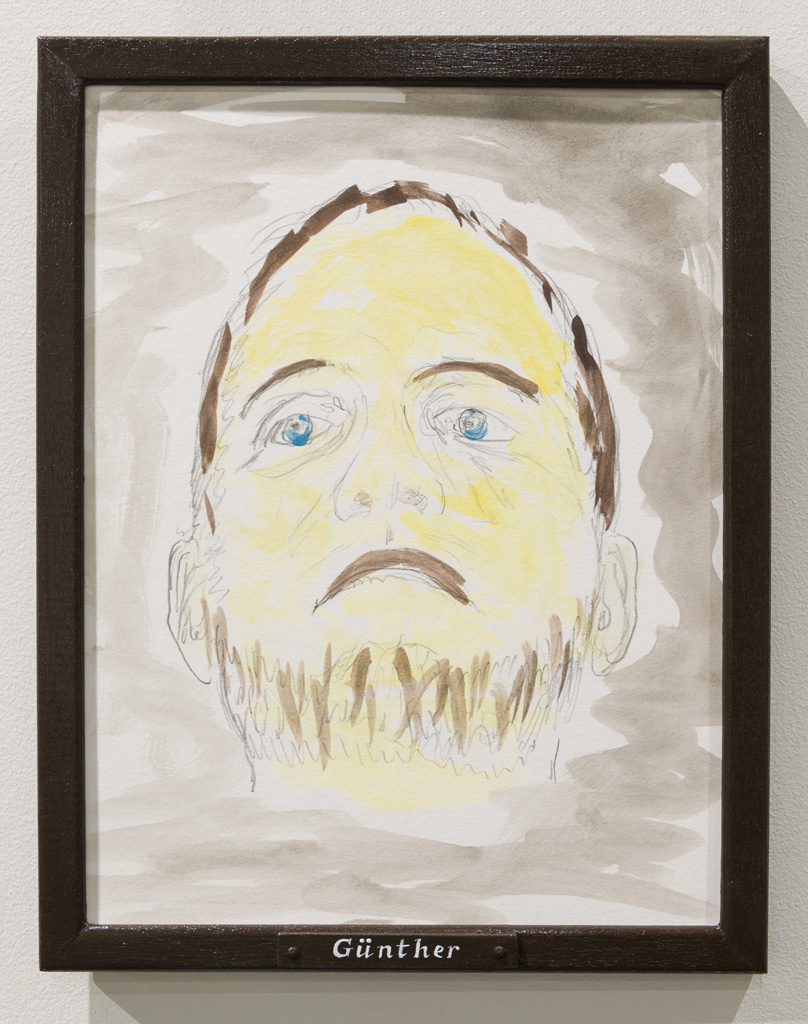 Jos de Gruyter & Harald Thys, »GÜNTHER«, 2015,<br>Pencil and water colour on off-white cardboard in wooden frame,<br>painted brown, 38 x 30, Unique