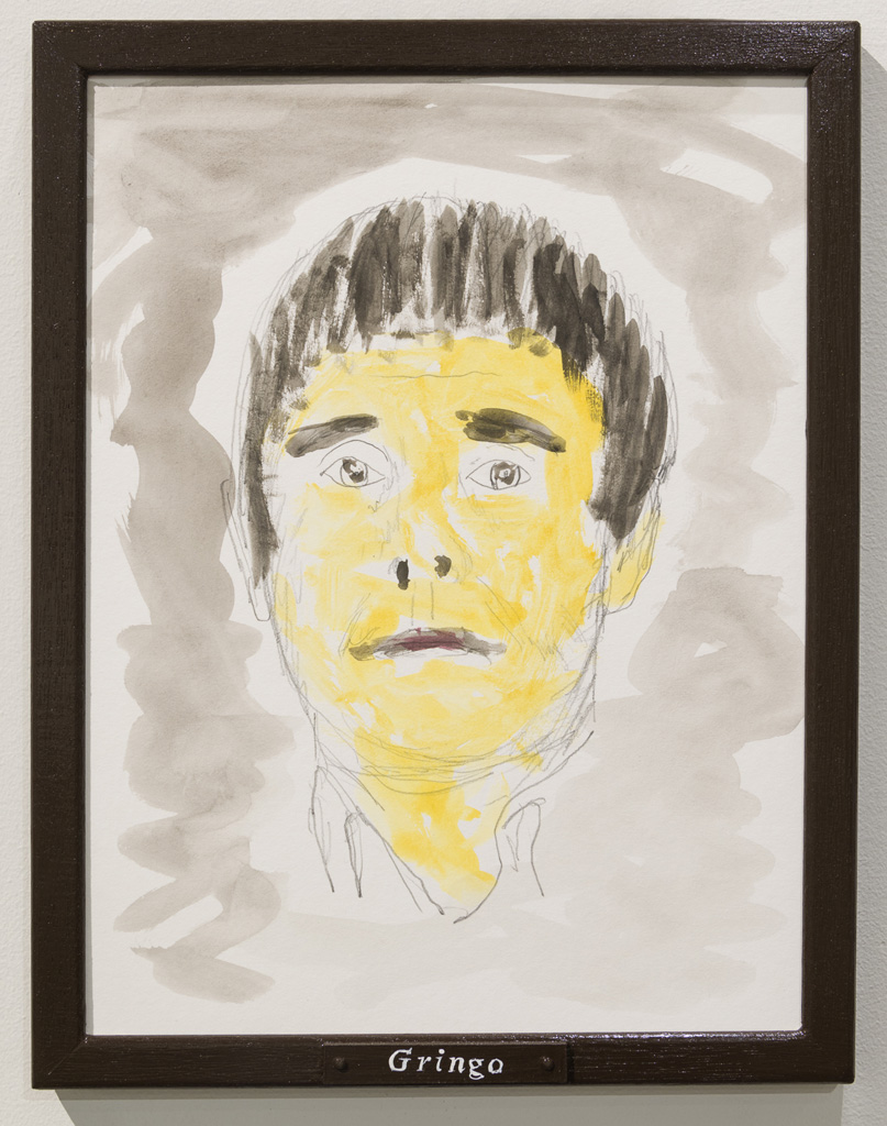 Jos de Gruyter & Harald Thys, »GRINGO«, 2015,<br>Pencil and water colour on off-white cardboard in wooden frame,<br>painted brown, 38 x 30, Unique