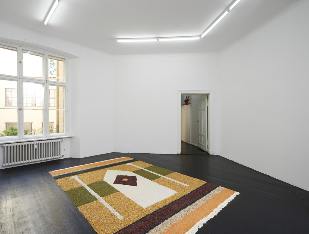 Aldo Mondino<br>»Raccolto in preghiera (In Prayer)«, 1986<br>Various corn and grains, 365 x 234 cm