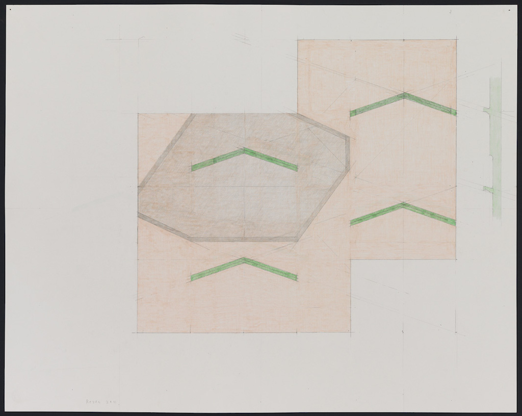 Richard Rezac, »Study for Untitled (11-01)«, 2011, colored pencil and graphite on paper, 58.4 x 73.7 cm, unique