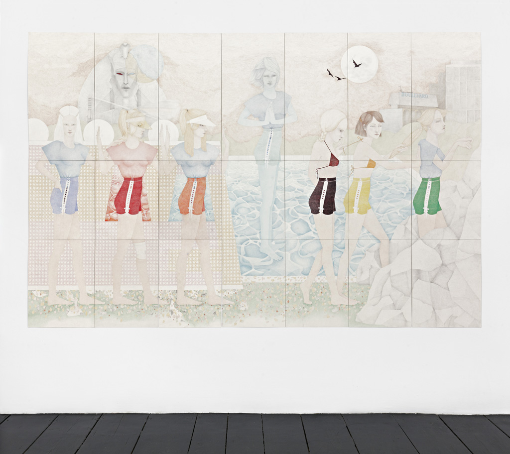 Donna Huddleston, »The Warriors«, 2015, Caran d'ache,<br/> graphite and gouache on paper, seven pieces 85 x 42cm / <br/>seven pieces 55 x 42cm / seven pieces 65 x 42cm, unique