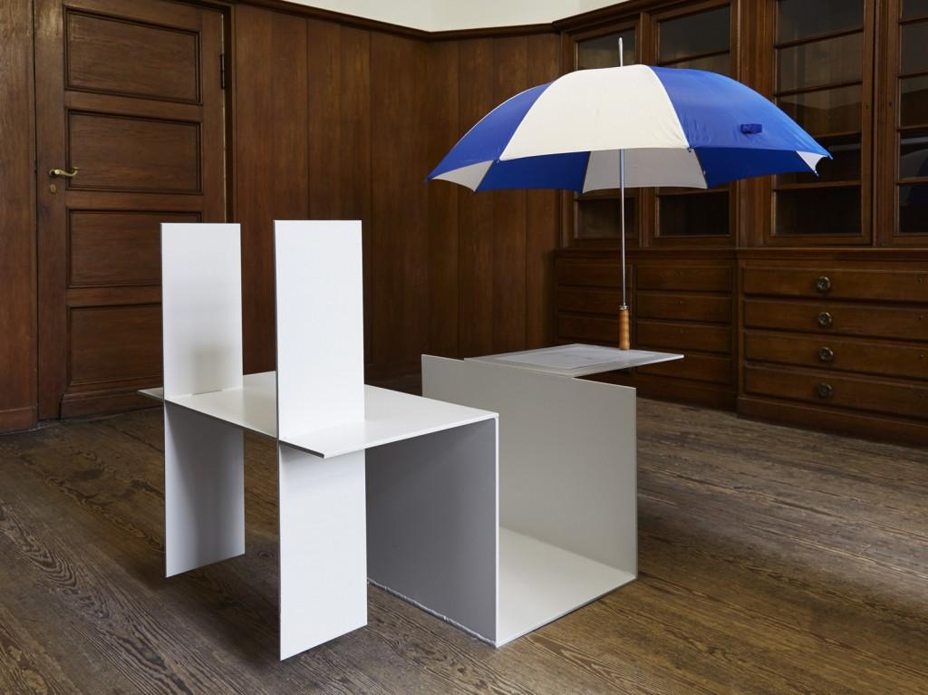 Jos de Gruyter & Harald Thys, »Umbrella White Element«, 2016,  <br>hot rolled steel, graphite on paper, umbrella, beachball, 160 x 82 x 243 cm, unique