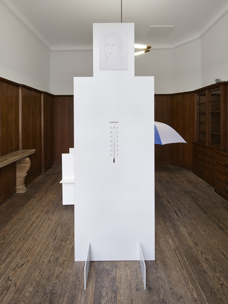 Jos de Gruyter & Harald Thys, »Thermometer White Element«, 2015, <br>hot rolled steel, graphite on paper, aluminium, enamel, hand crafted thermometers, 243 x 81.79 x 80.01 cm, unique
