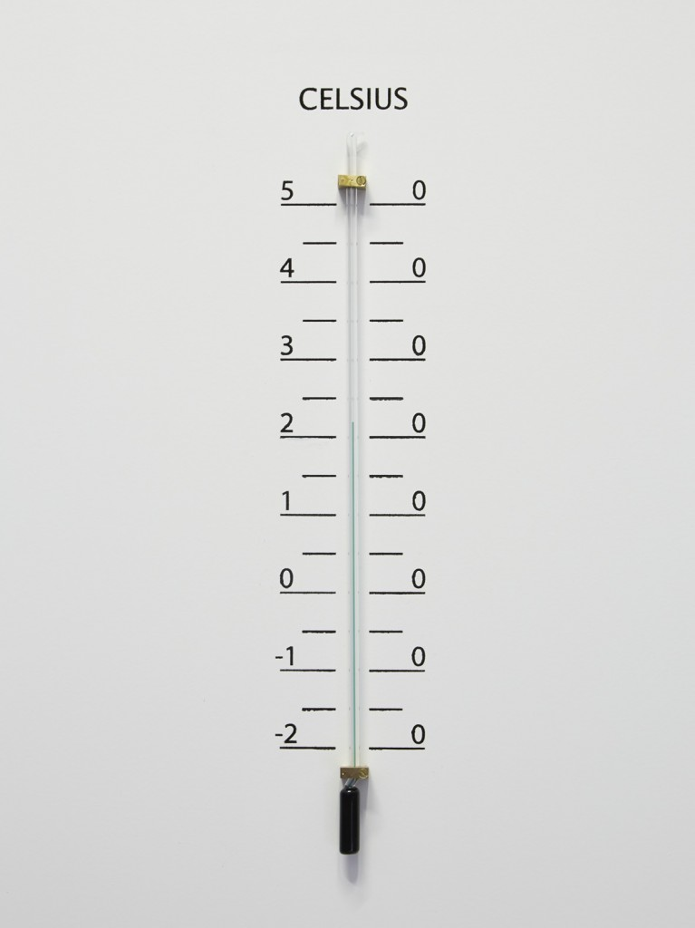 Jos de Gruyter & Harald Thys, »Thermometer White Element« (detail), <br>2015, hot rolled steel, graphite on paper, aluminium, enamel, hand crafted thermometers, 243 x 81.79 x 80.01 cm, unique