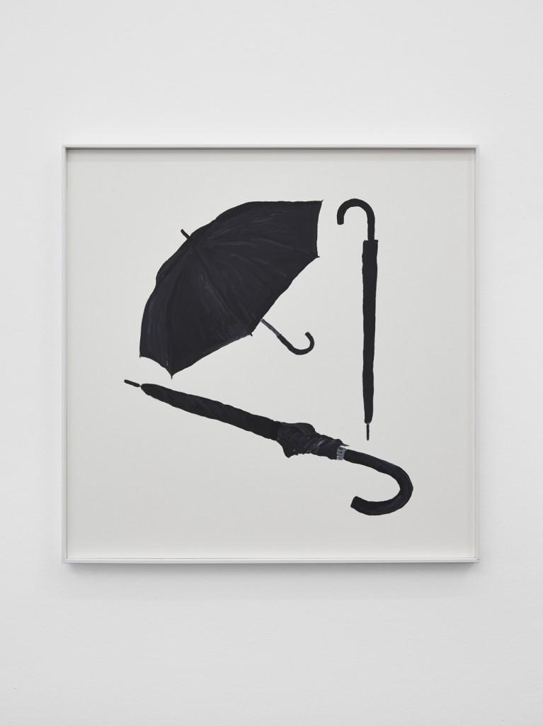 Jos de Gruyter & Harald Thys, »Three Black Umbrellas«, 2016, acrylic on card in hot rolled steel frame, 69 x 69 cm, unique