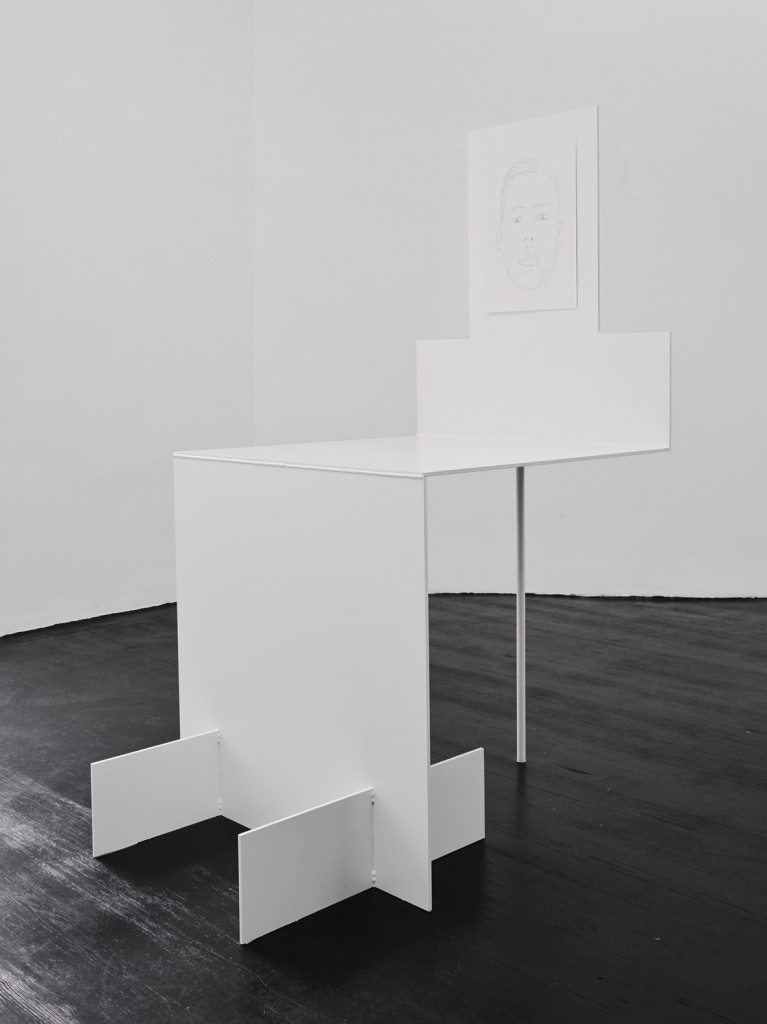 Jos de Gruyter & Harald Thys, »Seated White Element«, 2015, <br>hot rolled steel, graphite on paper, 163 x 82 x 108 cm, unique