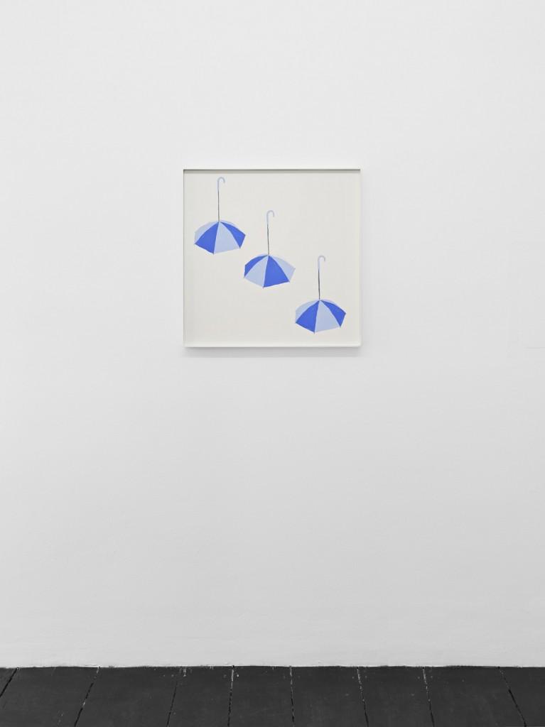 Jos de Gruyter & Harald Thys, »Three Blue Umbrellas«, 2016, acrylic on card in hot rolled steel frame, 69 x 69 cm, unique