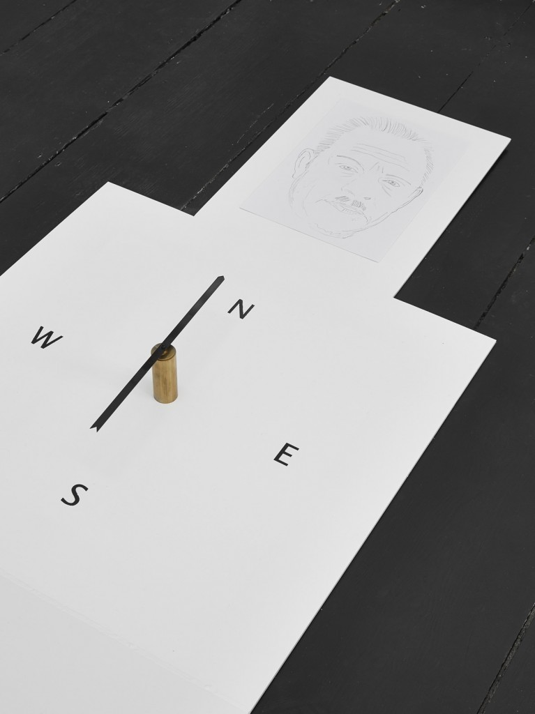 Jos de Gruyter & Harald Thys, »Compass White Element«, 2016, <br>hot rolled steel, graphite on paper, enamel, hand crafted compass, 160 x 82 x 243 cm, unique