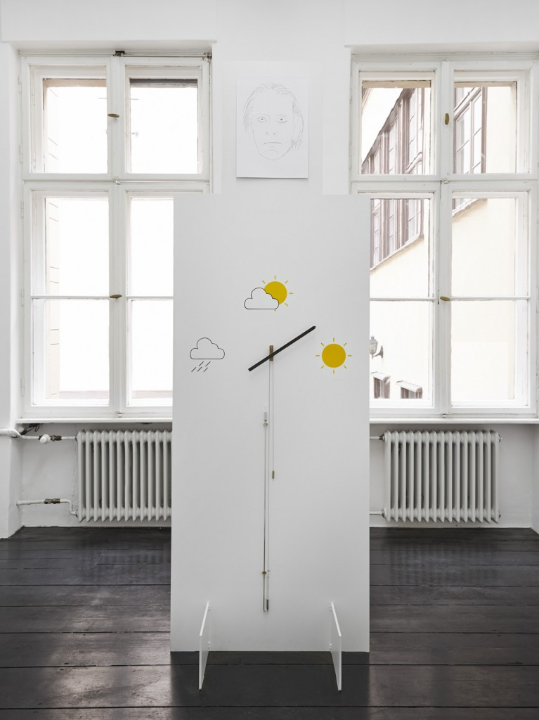 Jos de Gruyter & Harald Thys, »Barometer Altometer White Element«, 2015, hot rolled steel, graphite on paper, aluminium, enamel, hand crafted barometer, 243 x 81.79 x 80.01 cm, unique
