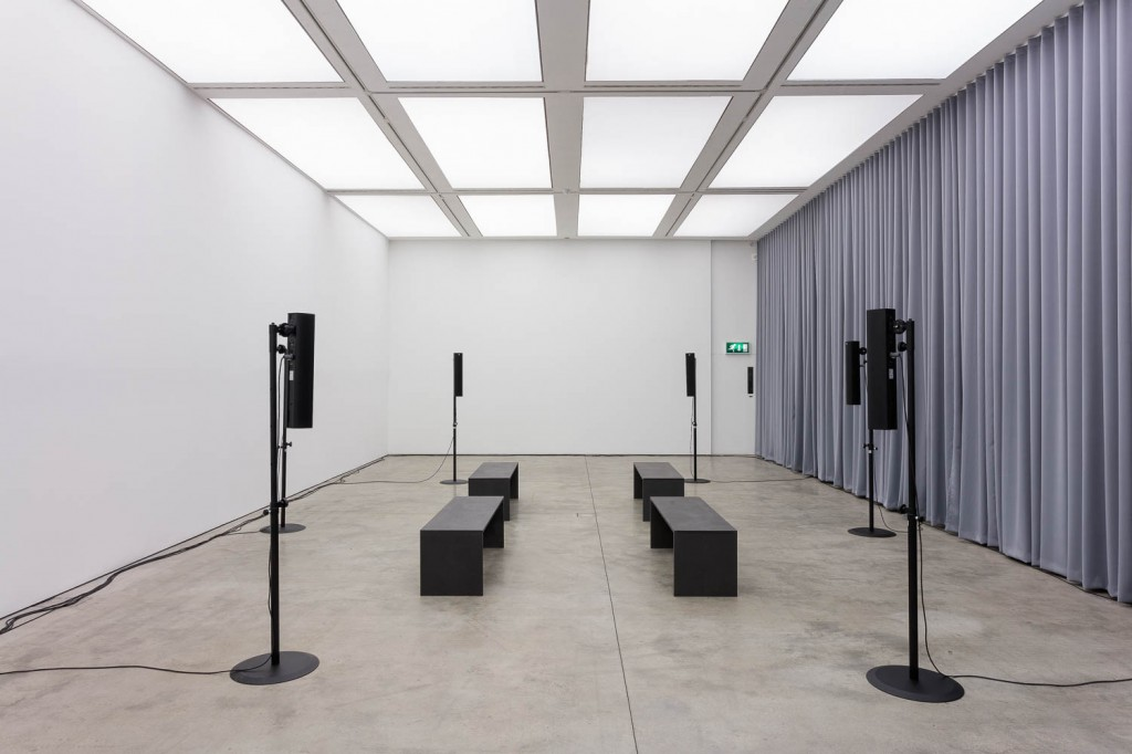 James Richards, Crumb Mahogany, 2016, 9-channel digital audio, computer system, 15 minute loop, ICA, London, 21.09.16—13.11.16