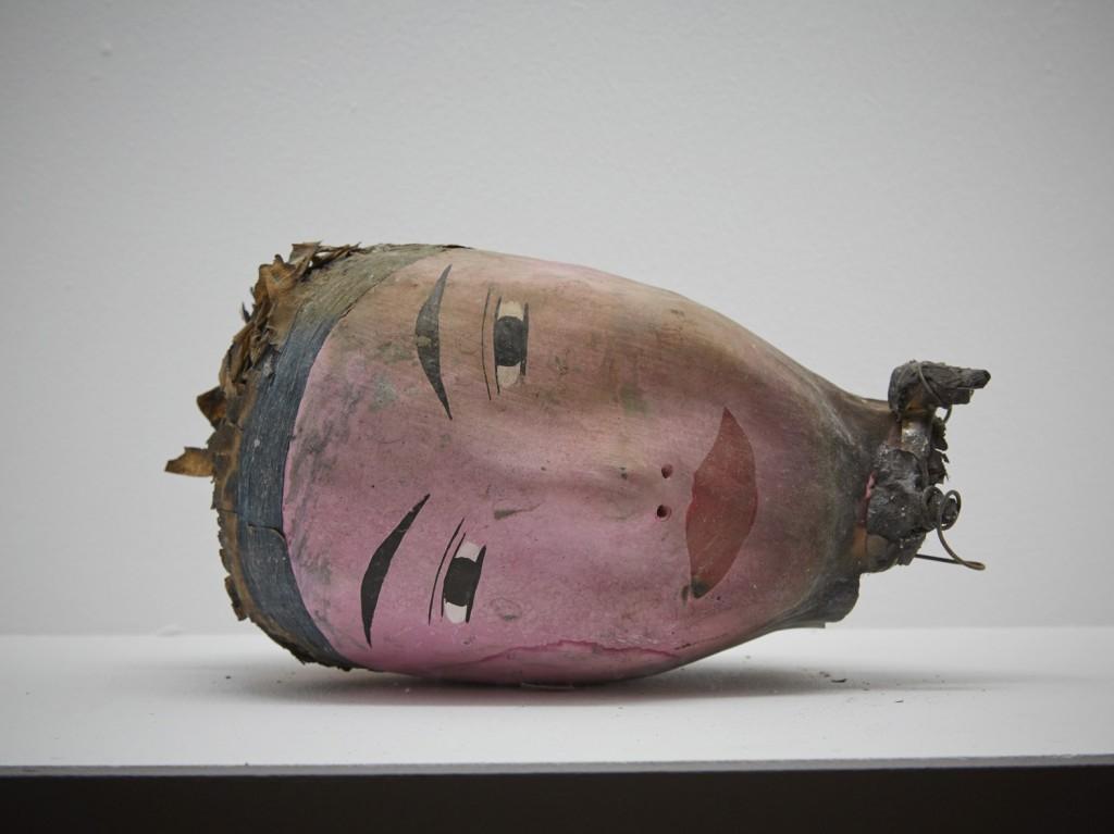 Installation view, '9th Berlin Biennale', KW Institute for Contemporary Art, Tears, Tears,Tears, Papier maché head, Photo: H Trumble