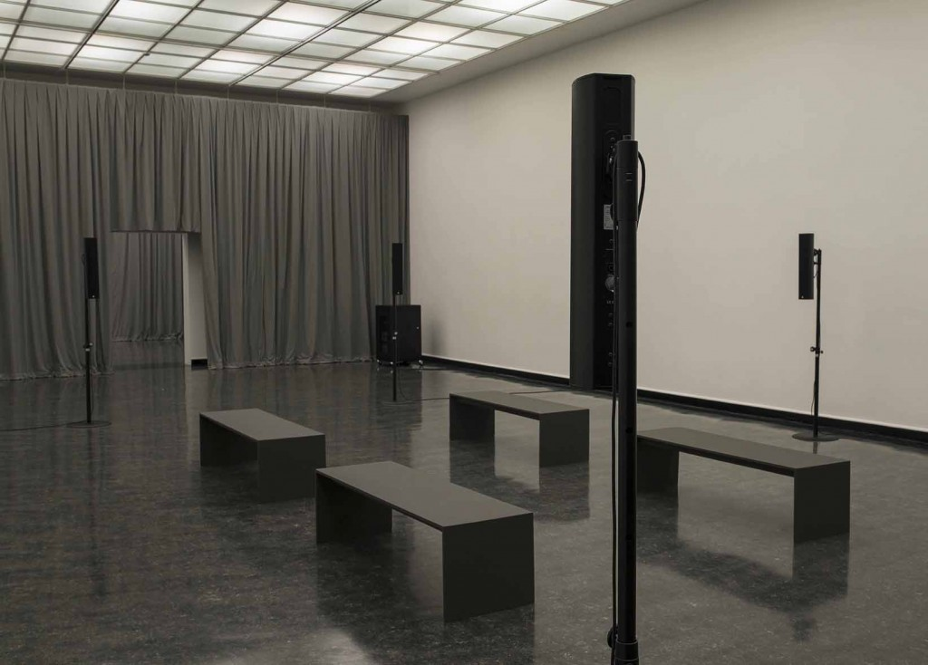 James Richards, Crumb Mahogany 1, 2016, 6-channel digital audio, computer system, 15 minute loop,Installation view, Bergen Kunsthall, Norway, February 26 – April 3, 2016
