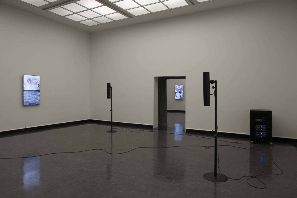 James Richards, Installation view, Crumb Mahogany 1, 6-channel digital audio, computer system, 15 minute loop 2016, Bergen Kunsthall, Norway, February 26 – April 3, 2016