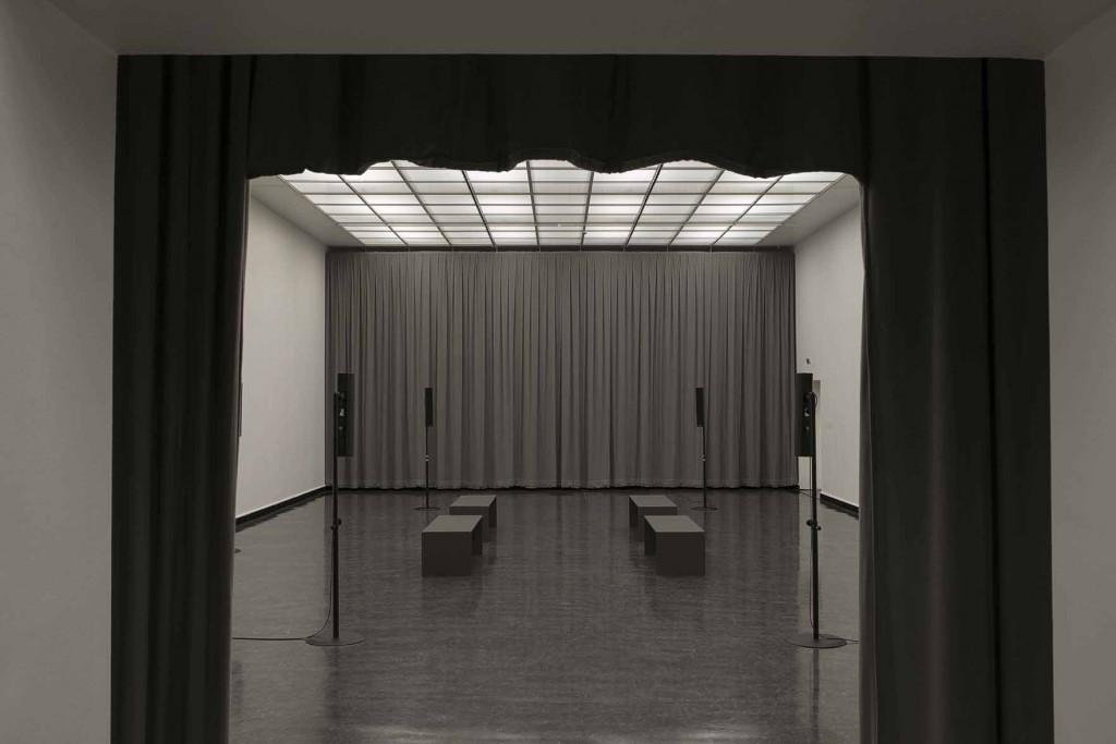 James Richards, Crumb Mahogany 1, 2016, 6-channel digital audio, computer system, 15 minute loop, Installation view, Crumb Mahogany, Bergen Kunsthall, Norway, February 26 – April 3, 2016
