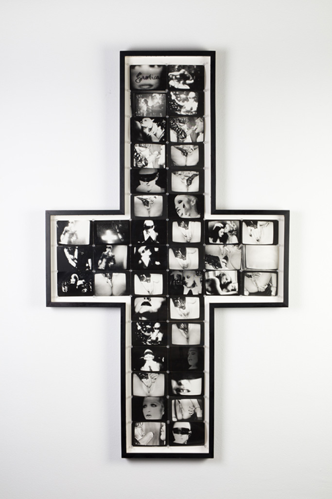 Crossroads, 1994, Photo collage, cross-shaped frame, 161.29 x 96.52 cm