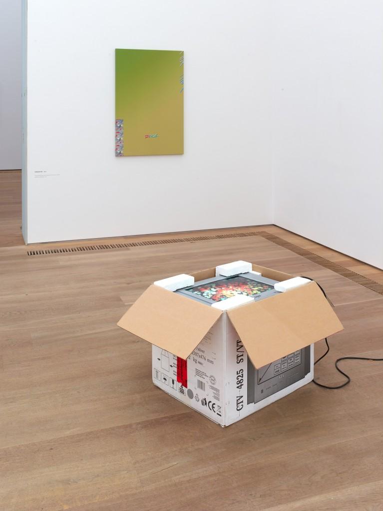Installation view, Seth Price, Social Synthetic, Museum Brandhorst, Munich, 2017-2018