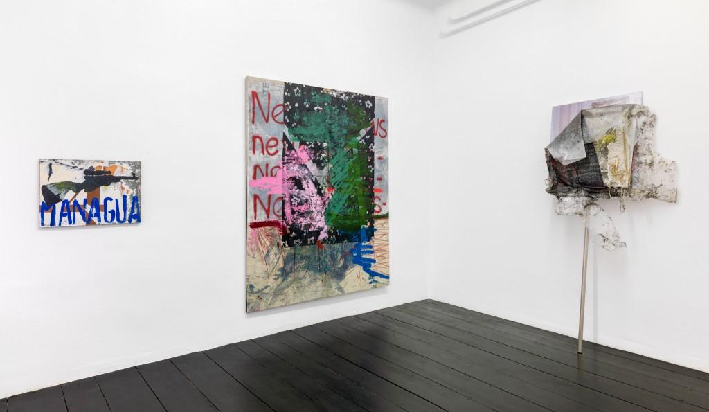 Installation view, Virus – Mimmo Rotella & Oscar Murillo, Galerie Isabella Bortolozzi, Berlin, 2019
