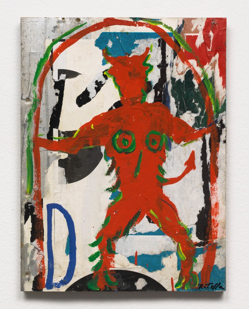 Mimmo Rotella, Diavolo sotto l'arco, 1990, overpainted poster on metal, 50 x 38 x 2 cm