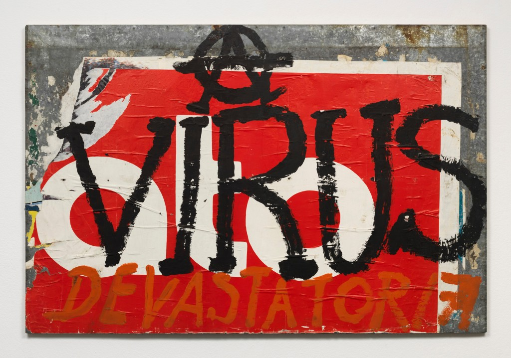 Mimmo Rotella, Virus, 1987, overpainted poster on metal, 100 x 150 x 2 cm