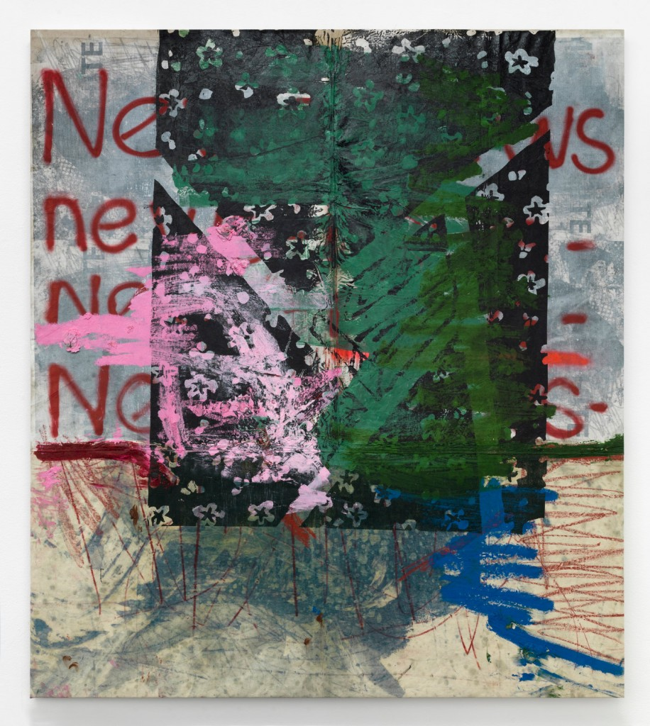 Oscar Murillo, Untitled (news), 2018, oil, oil stick, graphite and spray paint on canvas and linen, 225 x 200 cm