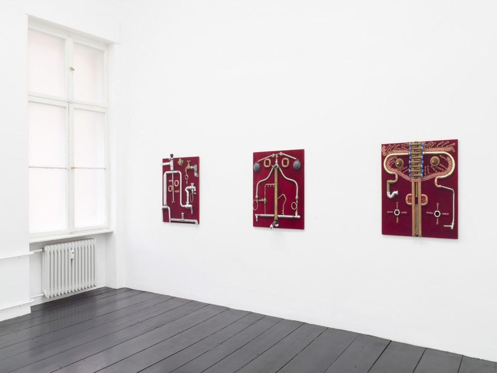 Installation view, Enrico Baj, Dame Idrauliche, Galerie Isabella Bortolozzi, Berlin, 2020. Photos: Roman März.