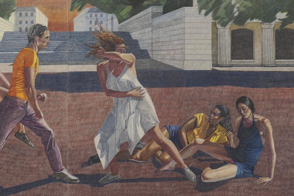 The Assault (detail), 2020. Oil based colour pencil on paper, 94 x 144 x 4 cm.