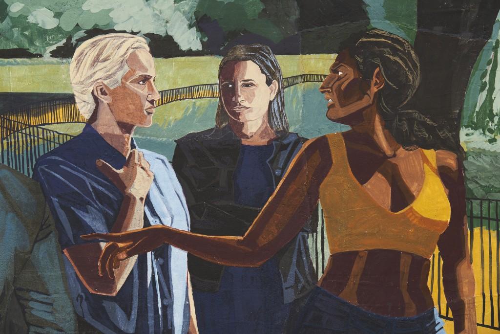 Public Affairs 1 (detail), 2020. Fresco on wooden panel, 200 x 200 cm.