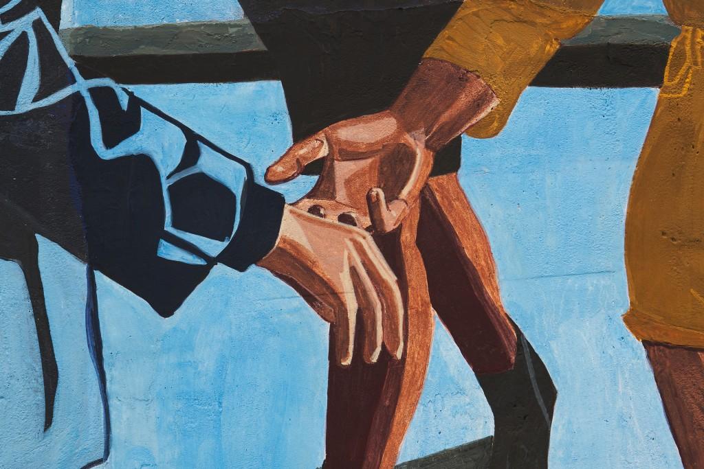 Public Affairs 2 (detail), 2020. Fresco on wooden panel, 200 x 200 cm.
