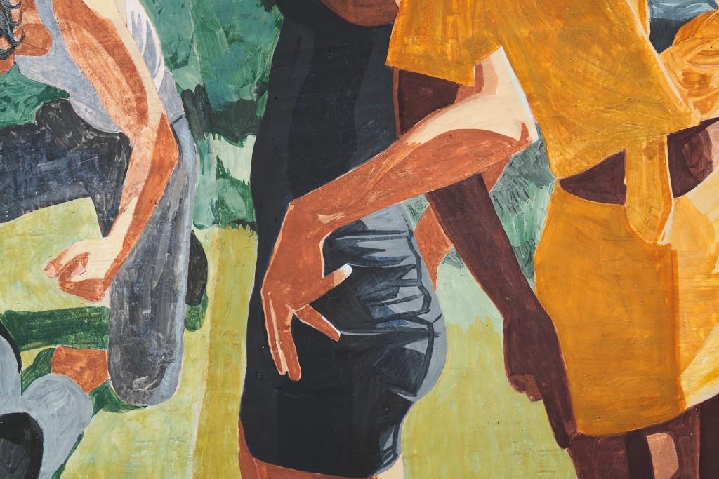 Public Affairs 3 (detail), 2020. Fresco on wooden panel, 200 x 200 cm.