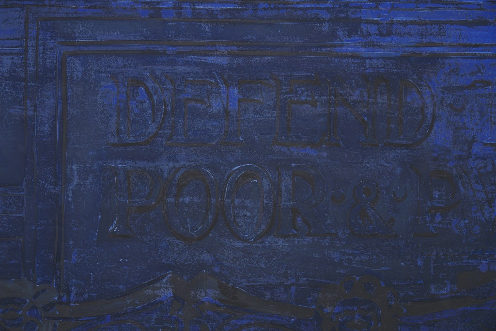 Defend the Children of the Poor and Punish the Wrongdoer (detail), 2020. Fresco on wooden panel, 122 x 232.5 cm.